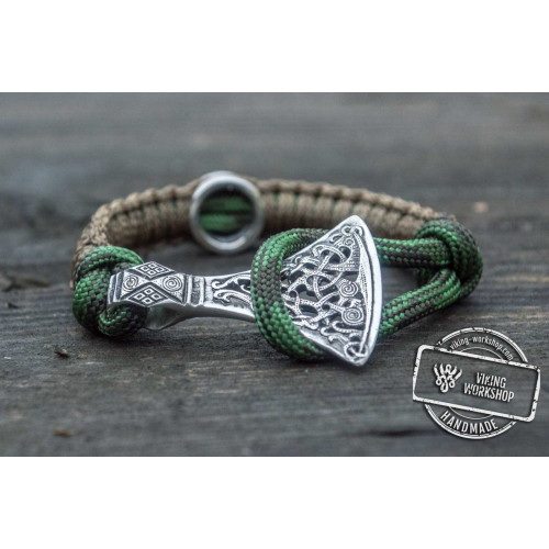 Coyote Paracord Bracelet with Viking Axe and Norse Rune Sterling Silver Jewelry