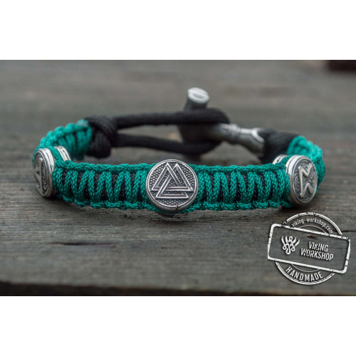 Green Paracord Bracelet with Norse Rune Sterling Silver Handmade Jewelry