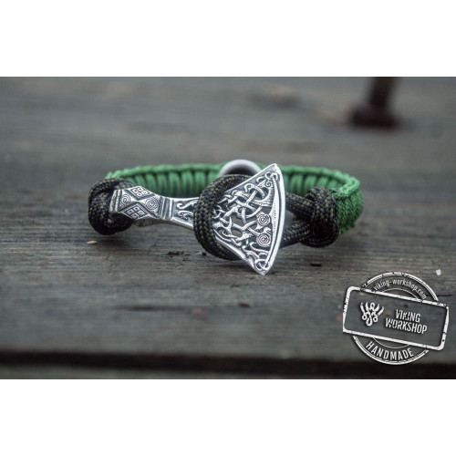 Green Paracord Bracelet with Sterling Silver Viking Axe and Norse Runes Jewelry