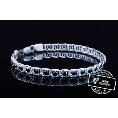 Handmade Sterling Silver Bracelet with Black Cubic Zirconoa Jewelry