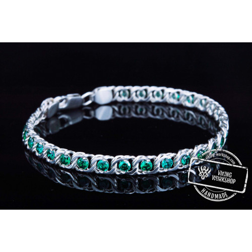 Handmade Sterling Silver Bracelet with Green Cubic Zirconoa Jewelry