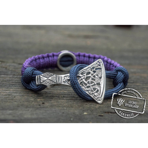 Purple Paracord Bracelet with Sterling Silver Viking Axe and Norse Rune Jewelry