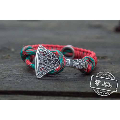Red Paracord Bracelet with Sterling Silver Viking Axe and Norse Rune Jewelry