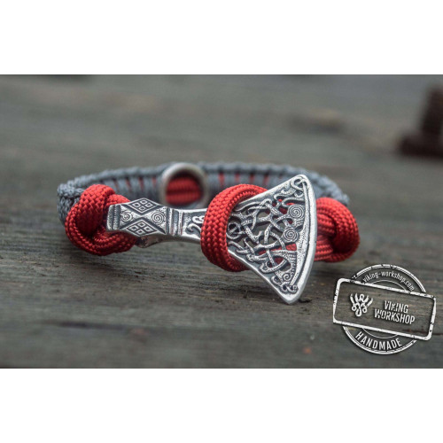 Red and Grey Paracord Bracelet with Viking Hammer and Norse Runes Jewelry