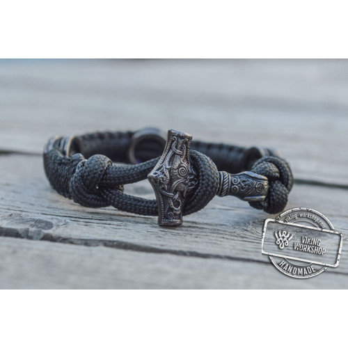 Thors Mjolnir with Runes Sterling Silver Ruthenium Plated Black Paracord Bracelet