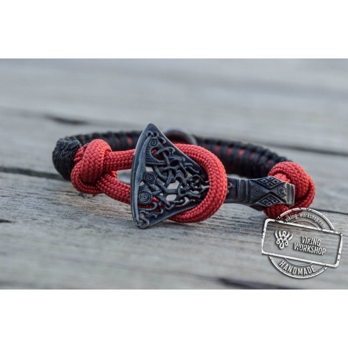 Viking Axe Sterling Silver with Norse Rune Ruthenium Plated Black Paracord Bracelet