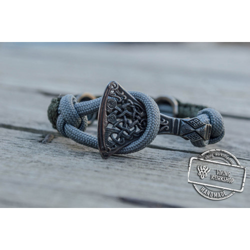 Viking Axe Sterling Silver with Norse Rune Ruthenium Plated Coyote Paracord Bracelet