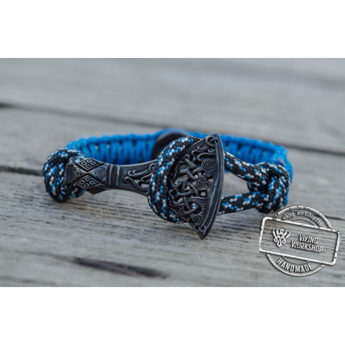 Viking Axe with Runes Sterling Silver Ruthenium Plated Blue Paracord Bracelet