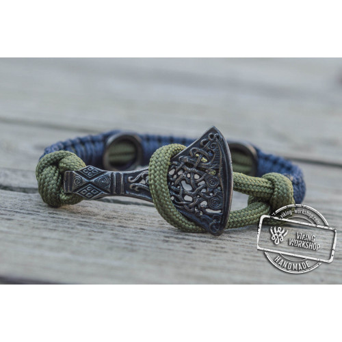 Viking Axe with Runes Sterling Silver Ruthenium Plated Purple Paracord Bracelet