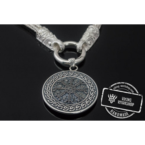 Set of Viking Chain with Helm of Awe Pendant Sterling Silver Unique Norse Jewelry
