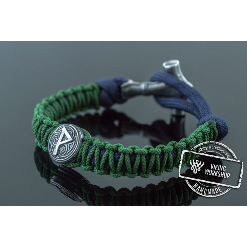 Green and Blue Paracord Bracelets with Small Sterling Silver Thors Hammer with Rune