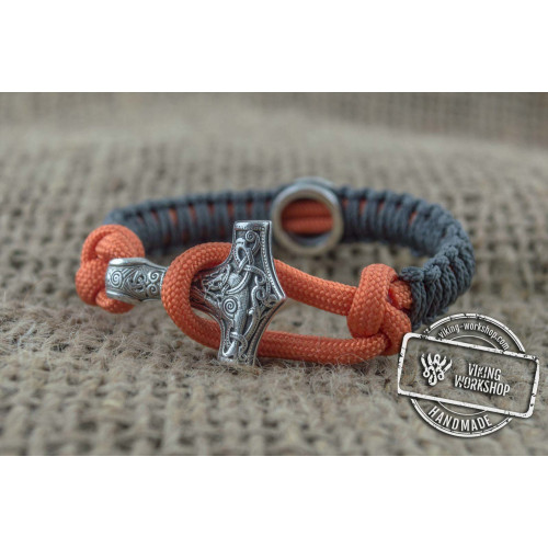 Grey and Orange Paracord Bracelets with Sterling Silver Small Thors Hammer and Rune