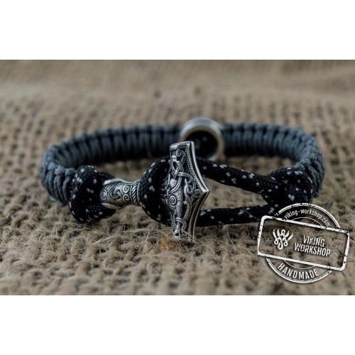 Small Black and Green Paracord Bracelets with Sterling Silver Mjolnir and Valknut Symbol