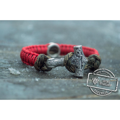 Small Red and Coyote Paracord Bracelets with Sterling Silver Mjolnir and Valknut Symbol