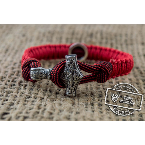 Small Red and Black Paracord Bracelets with Sterling Silver Mjolnir and Valknut Symbol