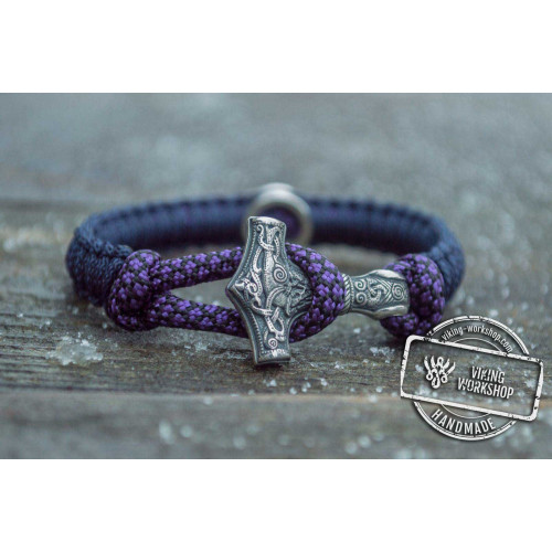 Small Violet Paracord Bracelets with Sterling Silver Mjolnir and Valknut Symbol
