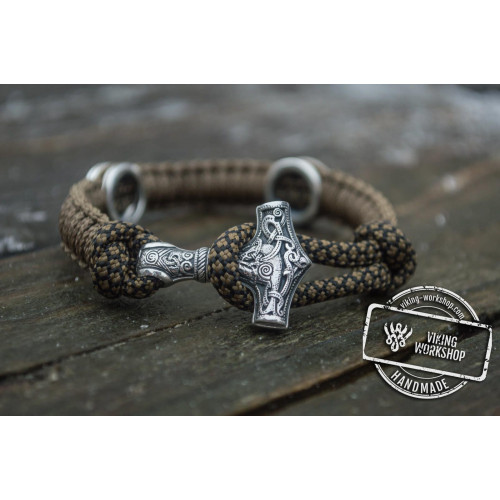 Small Sterling Silver Thors Hammer and Norse Rune with Coyote Paracord Bracelet