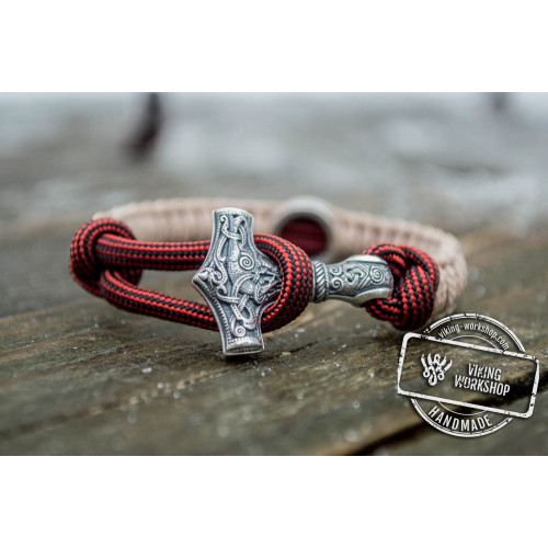 Sterling Silver Thors Hammer with Norse Runes Paracord Bracelets