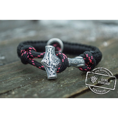 Sterling Silver Small Thors Hammer with Norse Runes and Black Paracord Bracelets