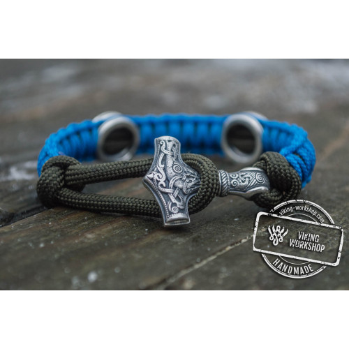 Small Sterling Silver Thors Hammer with Norse Runes and Blue Paracord Bracelets