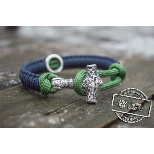 Small Sterling Silver Thors Hammer with Norse Rune and Blue with Green Paracord Bracelets