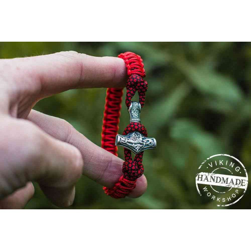 Paracord Bracelet with Silver Plated Mjolnir (Red+Red dotted)