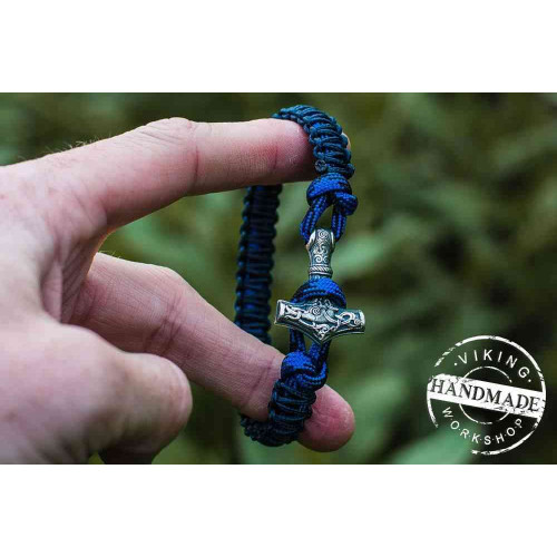 Paracord Bracelet with Sterling Silver Mjolnir (Blue+Blue)