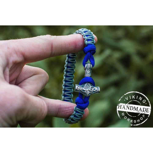 Paracord Bracelet with Sterling Silver Mjolnir (Grey+Blue)