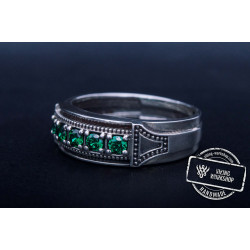 Handmade Ring with Green Cubiz Zirconia Sterling Silver Jewelry