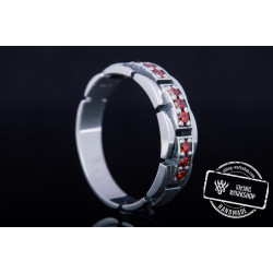 Handmade Ring with red Cubic Zirconia Sterling Silver Jewelryv