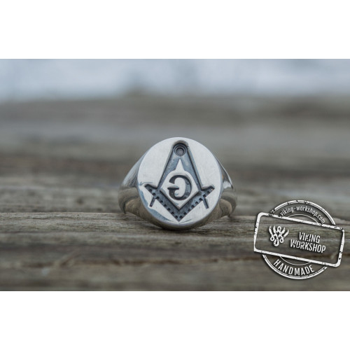 Ring with Masonic Symbol Sterling Silver Handmade Unique Jewelry