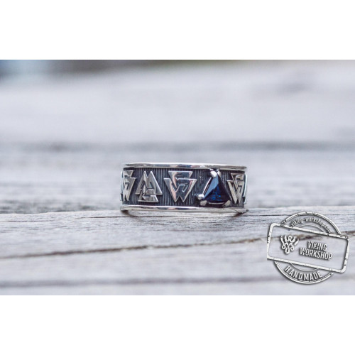 Valknut Symbol Ring with cubic Zirconia Sterling Silver Viking Jewelry