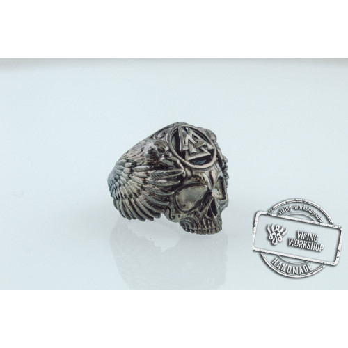 Odin Ring with Valknut Symbol Ring Ruthenium Plated Sterling Silver Unique Black Limited Edition Jewelry