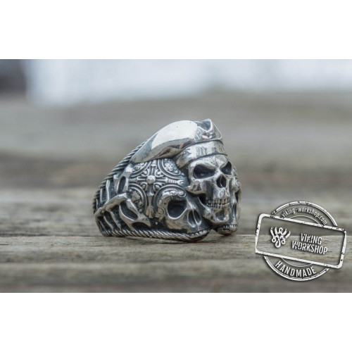 Pirate Skull Ring Sterling Silver Unique Handmade Jewelry