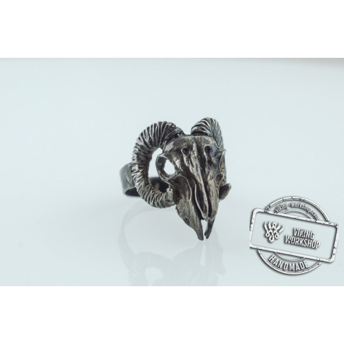 Ram Skull Ring Ruthenium Plated Sterling Silver Unique Animal Black Limited Edition Jewelry
