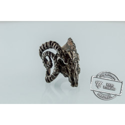 Ram Skull Ring Ruthenium Plated Sterling Silver Unique Black Limited Edition Jewelry
