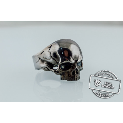 Skull Biker Ring Ruthenium Plated Sterling Silver Black Limited Edition Jewelry