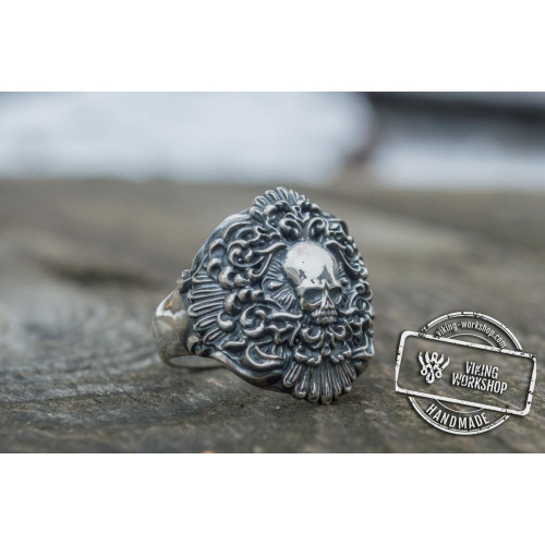 Skull Ring Sterling Silver Unique Handmade Biker Jewelry