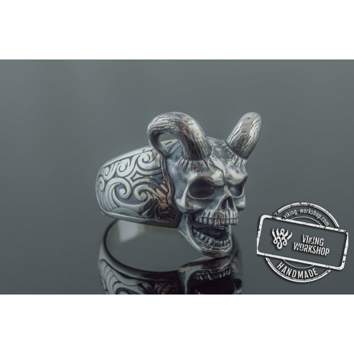 Skull with Horns Ring Sterling Silver Handmade Jewelry