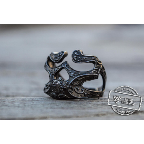 Skull Ring with Ornament Sterling Silver Ruthenium Plated Unique Biker Jewelry