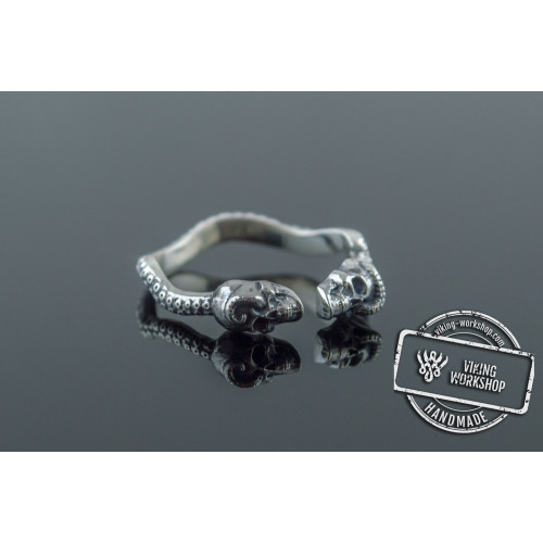 Skulls Ring Sterling Silver Unique Viking Workshop Jewelry