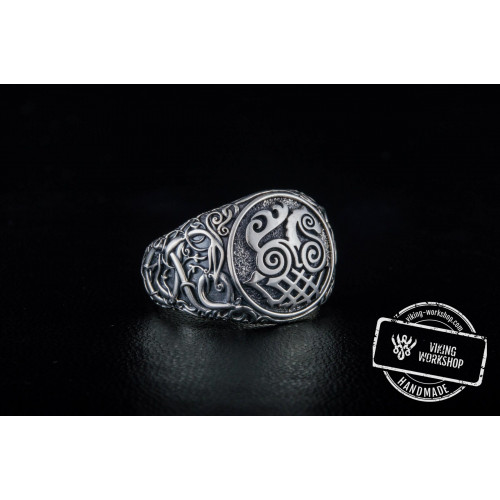 Sleipnir Symbol Ring with Urnes Style Sterling Silver Viking Jewelry