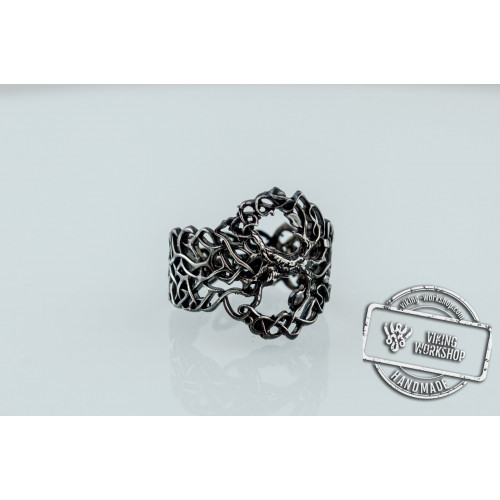 Yggdrasil Ring with Ornament Ruthenium Plated Sterling Silver Unique Black Limited Edition Norse Jewelry