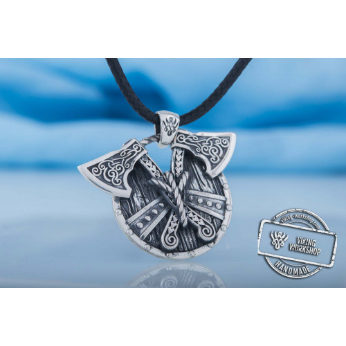 Norse Shield with Axes Pendant Sterling Silver Viking Jewelry
