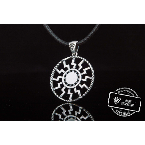 Black Sun Symbol Pendant Sterling Silver Viking Jewelry