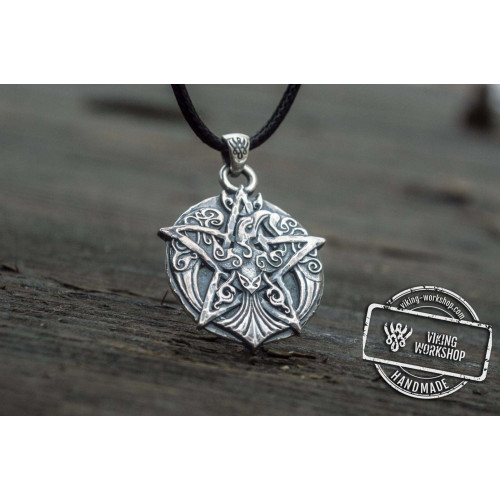 Crown Pendant with Ornament Sterling Silver Wicca Jewelry