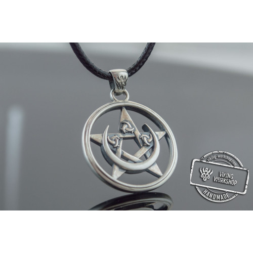 Pendant with Pentagram and Moon Symbol Sterling Silver Jewelry
