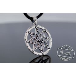 Pendant with Star Symbol and Cubic Zirconia Sterling Silver Handmade Jewelry
