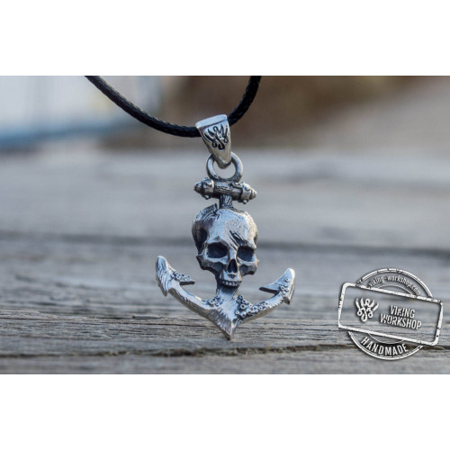 Anchor with Skull Pendant Sterling Silver Unique Handmade Jewelry