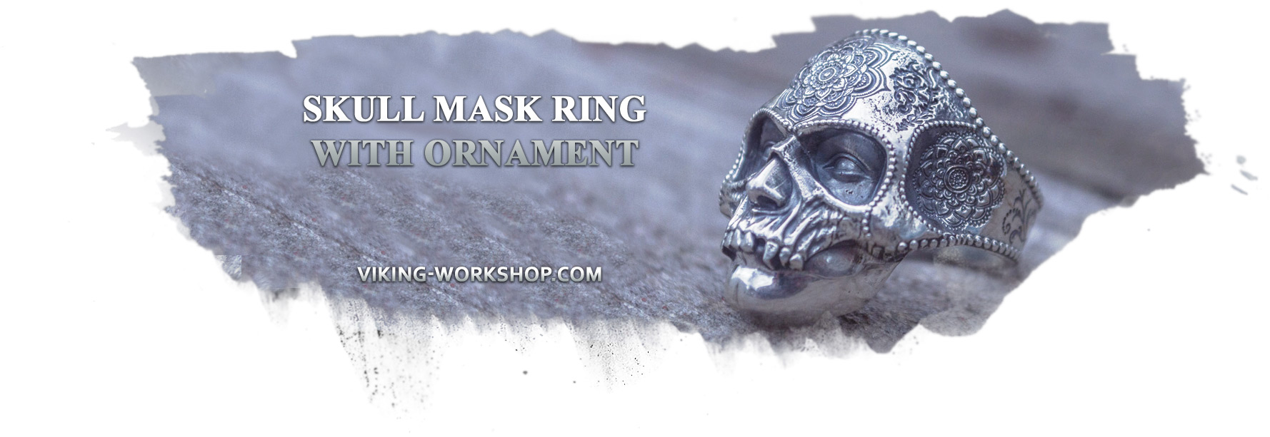 Skull Mask Ring with Ornament